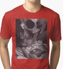 Skull with Peony Tri-blend T-Shirt