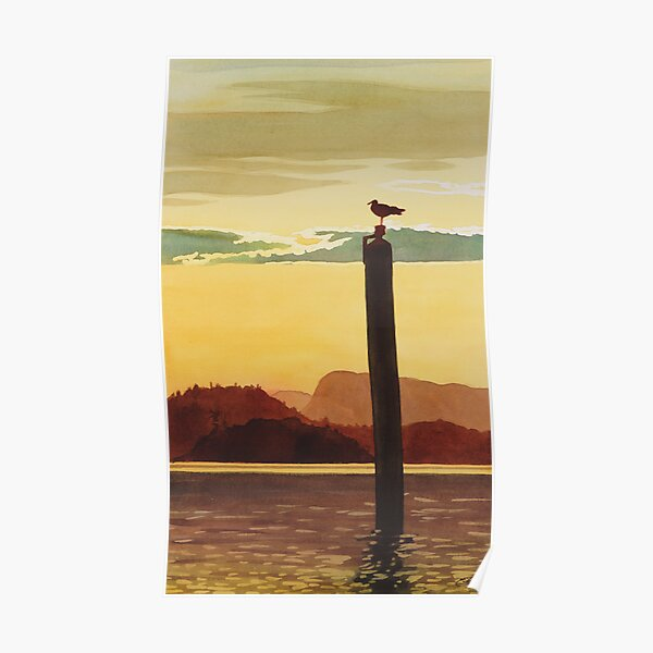 """""""Orcas Island Sunset"""" Watercolor Poster"""