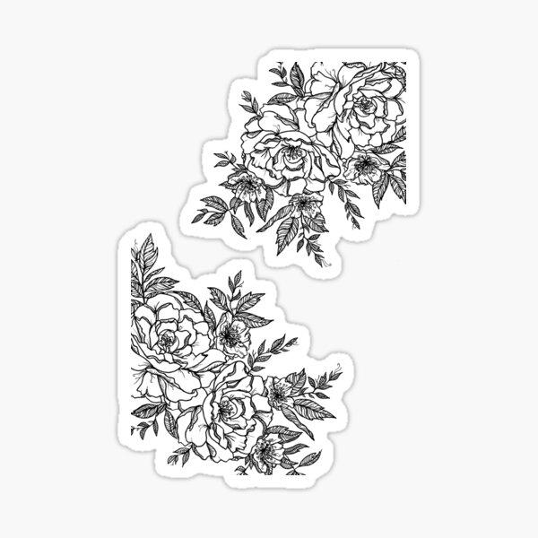 Flowers - Black & White Sticker
