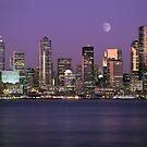 Seattle, Washington city skyline at night by Jeff Hathaway