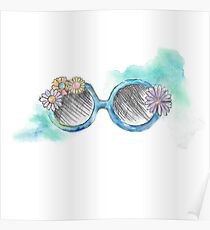 watercolour floral sunnies doodle Poster
