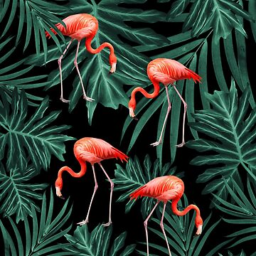 Summer Flamingo Jungle Night Vibes #2 #tropical #decor #art  by anitabellajantz