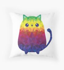 Colorful Polygon Rainbow Cat for Cat Lovers Throw Pillow