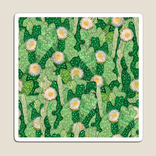 Cacti Camo Succulent Camouflage Abstract Botanical Floral Pattern Magnet