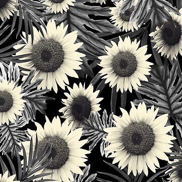 Tropical Sunflower Jungle Night Leaves Pattern #2 #tropical #decor #art  by anitabellajantz