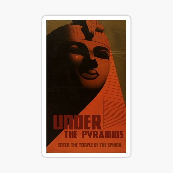 "H.P. Lovecraft Travel Poster: The Sphinx (""Under The Pyramids"") Sticker"