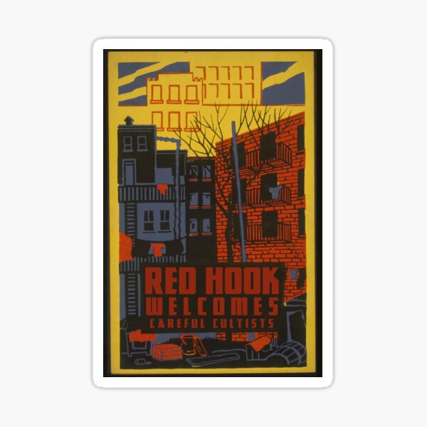 """H.P. Lovecraft Travel Poster: Red Hook (""""The Horror at Red Hook"""") Sticker"""