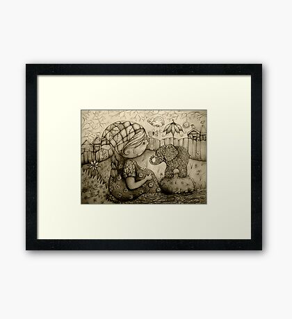 There's an Elephant in My Garden Framed Print