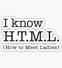 I Know HTML How To Meet Ladies Sticker