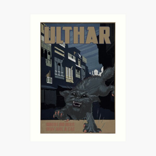 H P Lovecraft Travel Poster Ulthar The Cats Of Ulthar Art Print By Futurilla Redbubble