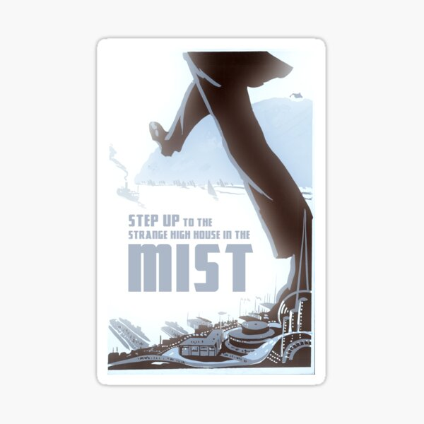 """H.P. Lovecraft Travel Poster: The High House (""""The Strange High House in The Mist"""") Sticker"""