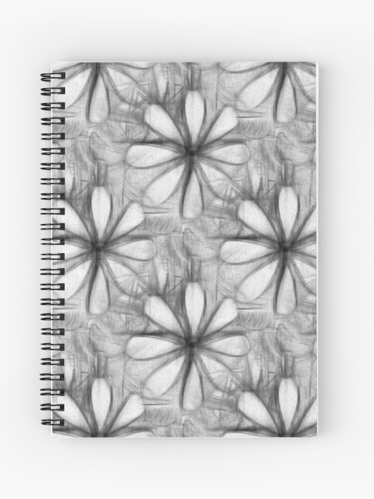 Pencil Drawing Flower Graphic Art Nature Design Plants Spiral Notebook