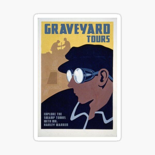 "H.P. Lovecraft Travel Poster: Graveyard Tours (""Statement of Randolph Carter"") Sticker"