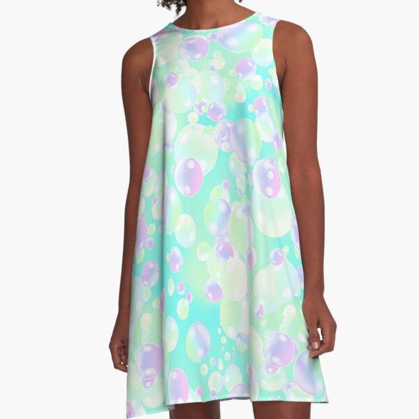 soap bubbles pastel colors graphic multicolor bubbles A-Line Dress