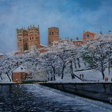 Durham Cathedral Snow by CrossanArt