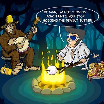 Bigfoot Banjo Elvis Campfire by VictorIos