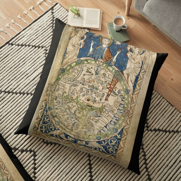 Psalter World Map (13th century) Floor Pillow