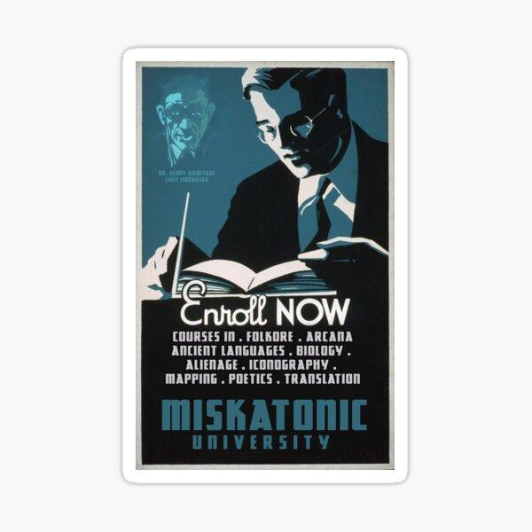 H.P. Lovecraft Travel Poster: Miskatonic University Sticker