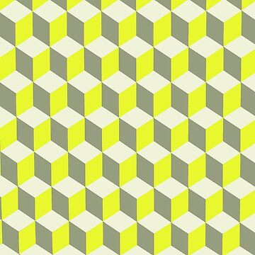 Diamond Repeating Pattern In Limelight Yellow Gray and White by taiche