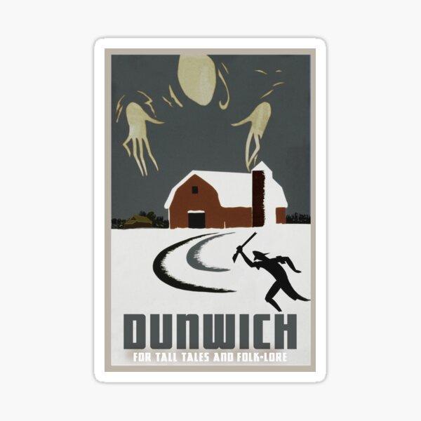 """H.P. Lovecraft Travel Poster: Dunwich (""""The Dunwich Horror"""") Sticker"""