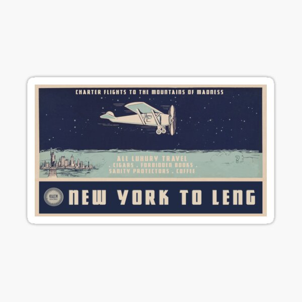 """H.P. Lovecraft Travel Poster: New York to Leng (""""At The Mountains of Madness"""") Sticker"""