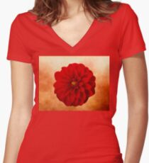 Red Dahlia Photographic Oilpainting Women's Fitted V-Neck T-Shirt