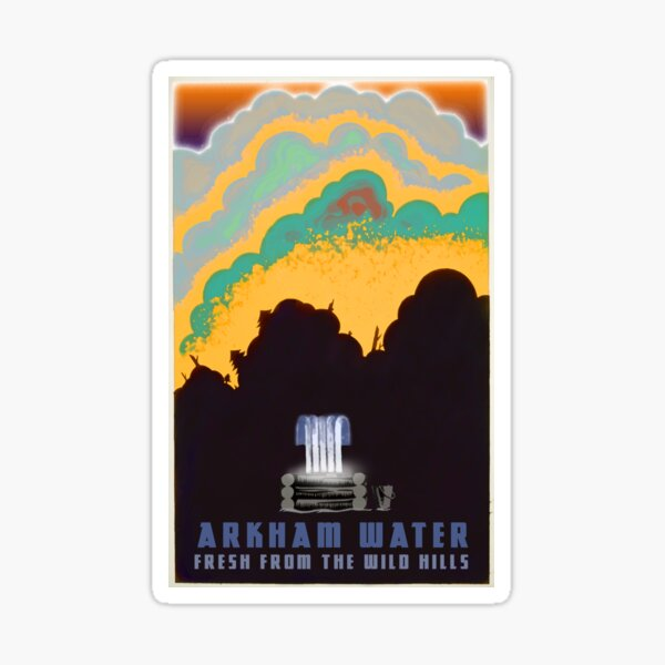 """H.P. Lovecraft Travel Poster: Arkham Water (""""The Colour Out of Space"""") Sticker"""
