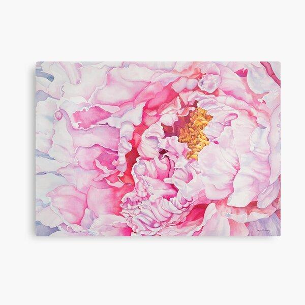 Pink Peony Watercolor Metal Print