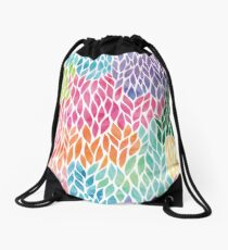 Beautiful rainbow Watercolor Geometric Leaf Pattern Drawstring Bag
