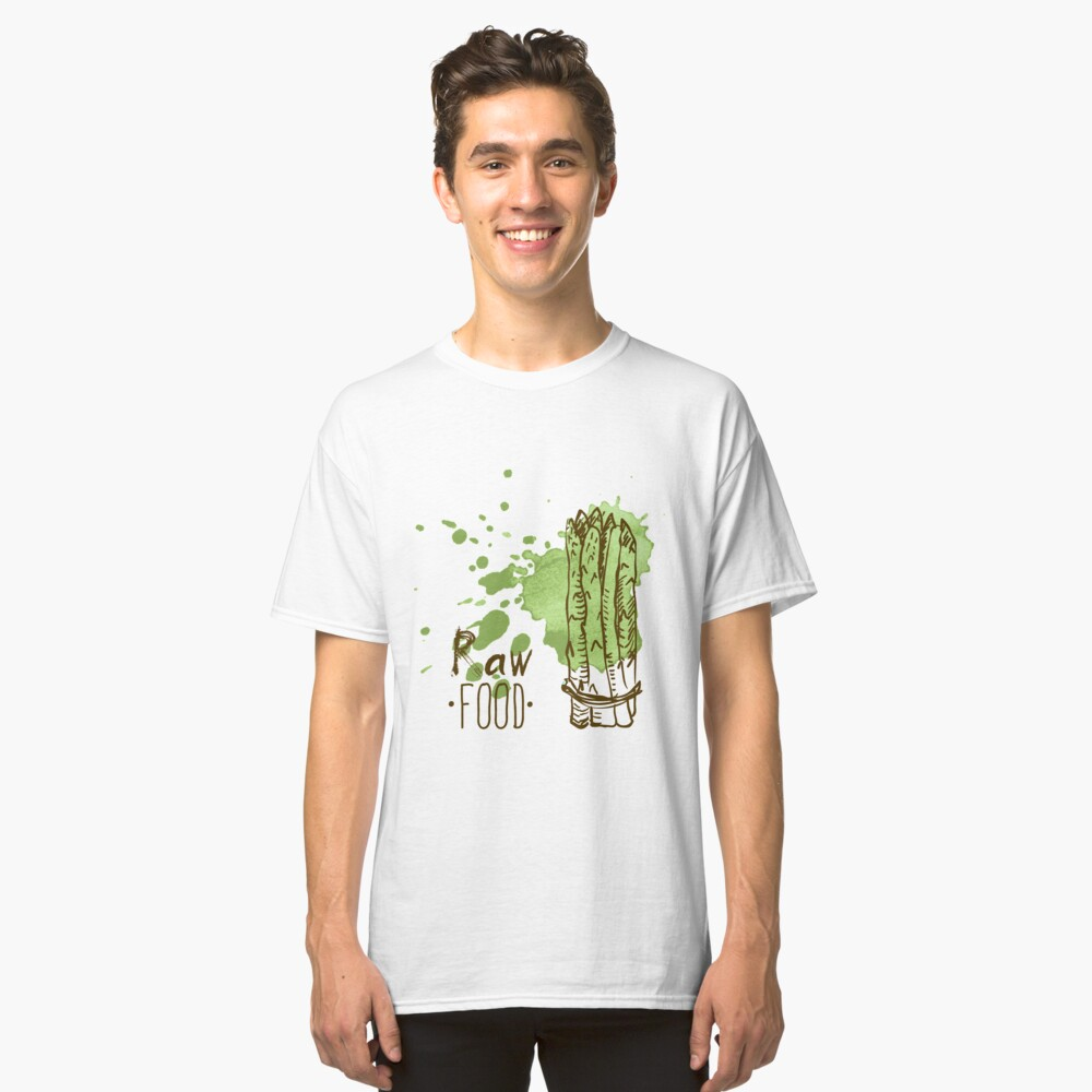 hand drawn vintage illustration of asparagus Classic T-Shirt Front