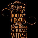 Halloween T-Shirts & Gifts: I'm Just A Hocus Pocus Away From Being A Real Witch by wantneedlove
