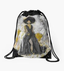 Der Queen Black and Gold Drawstring Bag