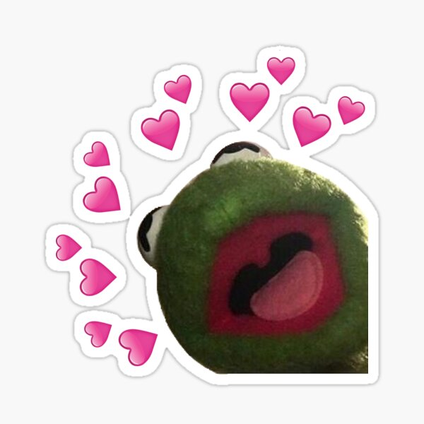 Kermit heart Meme Sticker