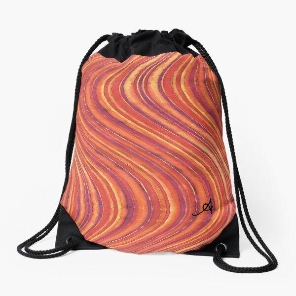 Watercolour Waves Red Amanya Design Drawstring Bag