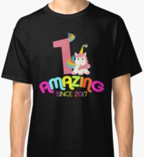Amazing Since 2017 Unicorn 1st Birthday Anniversaries Classic T-Shirt