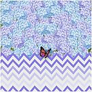 Hydrangeas with Purple Chevron and Butterfly by Tee Brain Creative