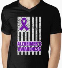 End Alzheimer's Disease shirt ALZ awareness Tshirt purple ribbion, alz shirt, Alzheimer disease shirt, purple ribbon shirt, alzheimers walk shirt  Men's V-Neck T-Shirt