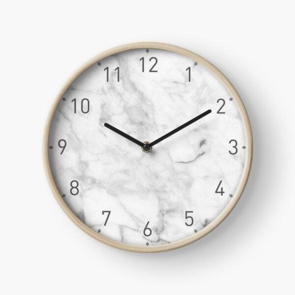 White gray marble texture Clock