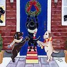 Christmas Wreath Labradors by HappyLabradors