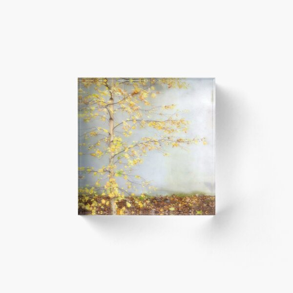 Yellow Leaves Acrylic Block