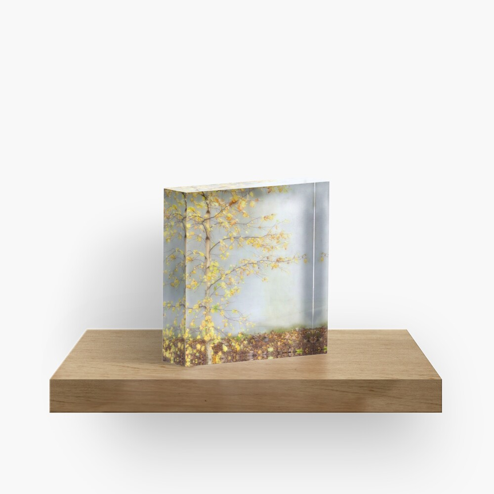 Yellow Leaves Acrylic Block