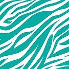 Zebra Animal Print in Teal Blue by Tee Brain Creative