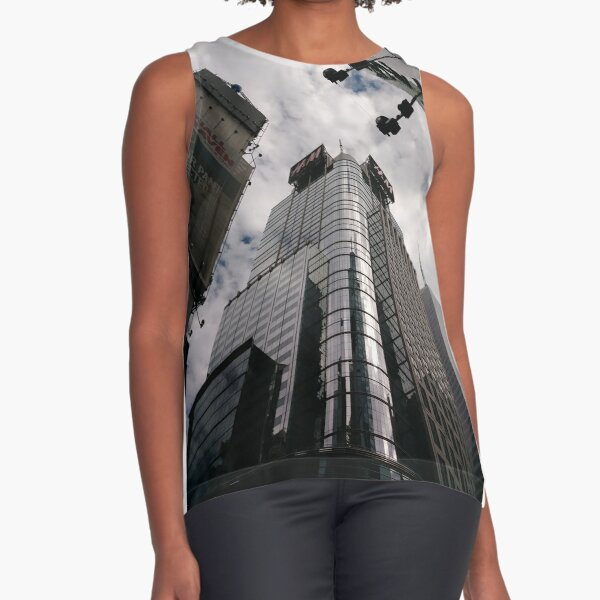 #Manhattan, #NewYork, #NewYorkCity, #buildings, #streets, #pedestrians, #people, #cars, #building, #architecture, #city, #skyscraper, #sky, #urban, #glass, #downtown, #tower, #skyline, #tall Sleeveless Top