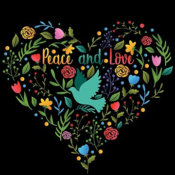 Peace and Love Heart Dove Flowers Tshirt Gift by Netsrikfa