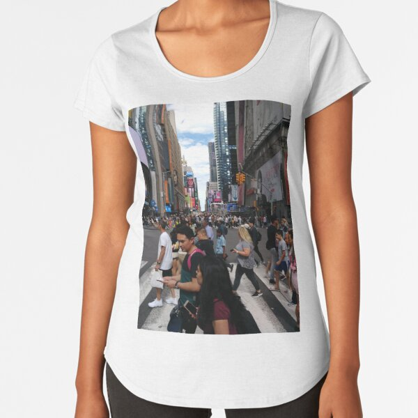 #Manhattan, #NewYork, #NewYorkCity, #buildings, #streets, #pedestrians, #people, #cars, #building, #architecture, #city, #skyscraper, #sky, #urban, #glass, #downtown, #tower, #skyline, #tall Premium Scoop T-Shirt