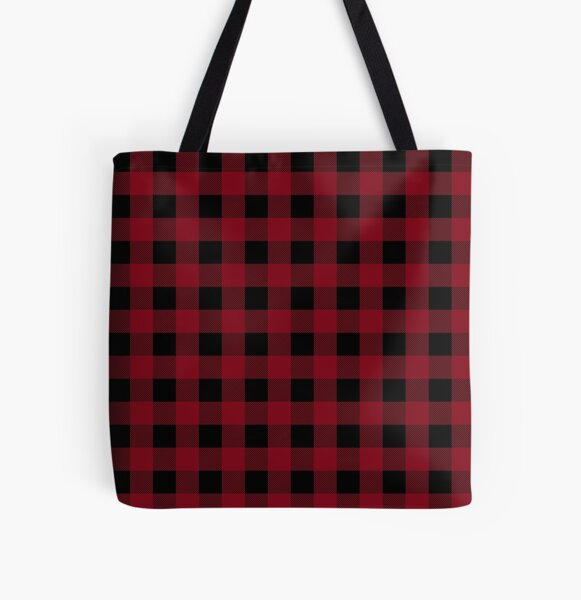 Classic Buffalo Plaid   Red and Black All Over Print Tote Bag