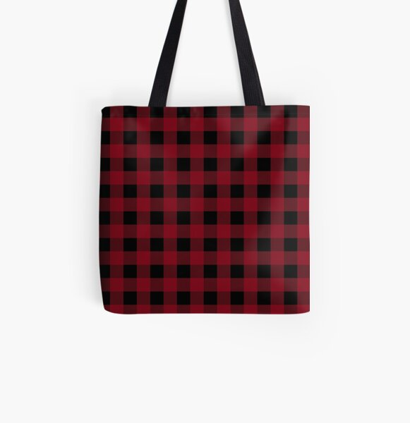 Classic Buffalo Plaid | Red and Black All Over Print Tote Bag