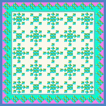 Abstract Colorful Geo Diamond Pattern with Border in Blue, Pink and Turq by IcArtsyOrigin8