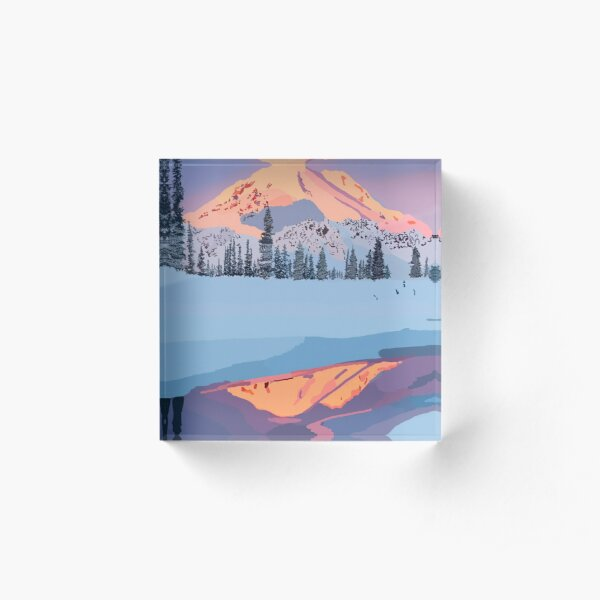 calm snowy mountain Acrylic Block