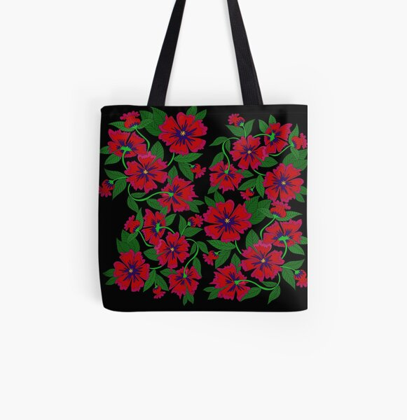 Red Poppy All Over Print Tote Bag
